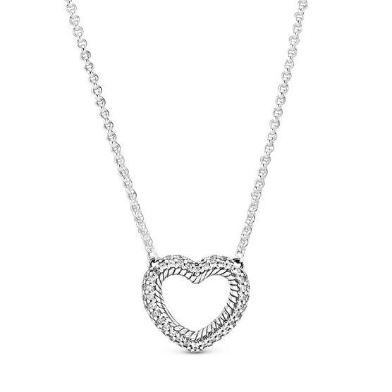 Pandora Pavé CZ Snake Chain Pattern Open Heart Collier Necklace