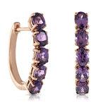 Rose Gold Rhodolite Garnet Hoop Earrings 14K