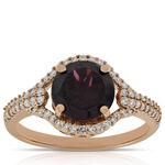 Rose Gold Rhodolite Garnet Ring 14K