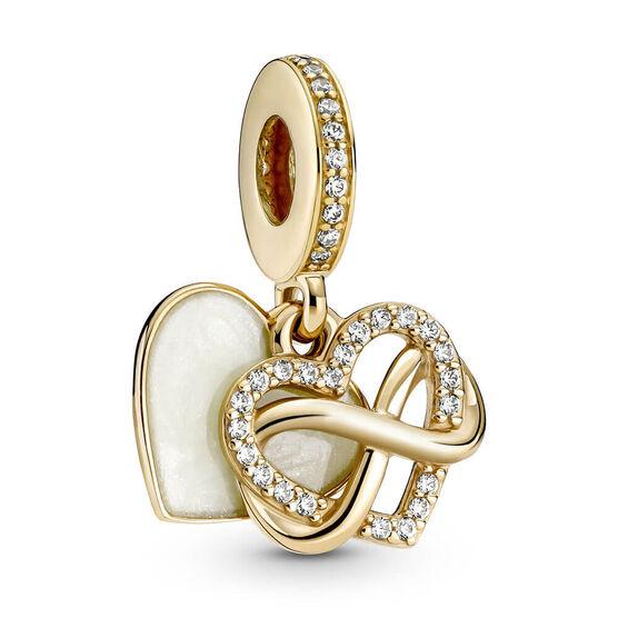 Pandora Sparkling Infinity Heart Enamel & CZ Dangle Charm 14K