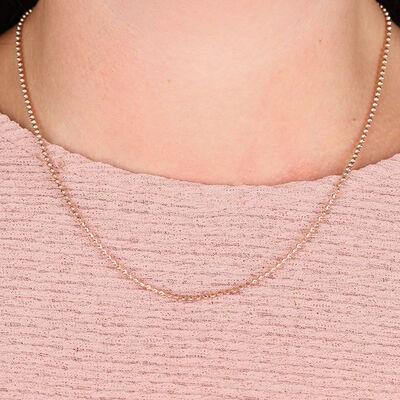 "Rose Gold Mooncut Bead Chain 14K, 18"""