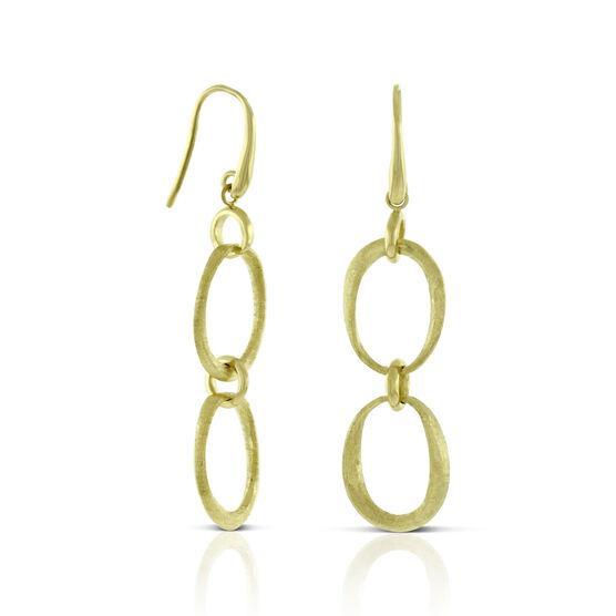 Toscano Satin Link Dangle Earrings 14K