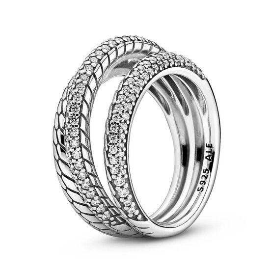 Pandora Triple Band Pavé CZ Snake Chain Pattern Ring