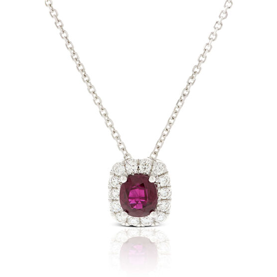 Cushion Cut Ruby & Diamond Halo Necklace 18K