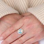 Opal & Diamond Halo Ring 14K