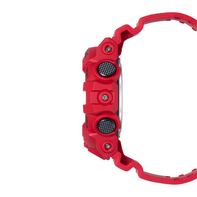 G-Shock Red Strap Black Dial Watch, 57.5mm