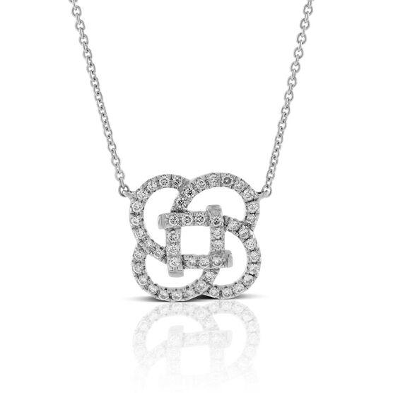 Diamond Flower Knot Necklace 14K