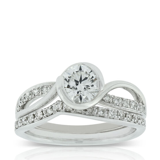 Bezel Set Diamond Bridal Set 14K