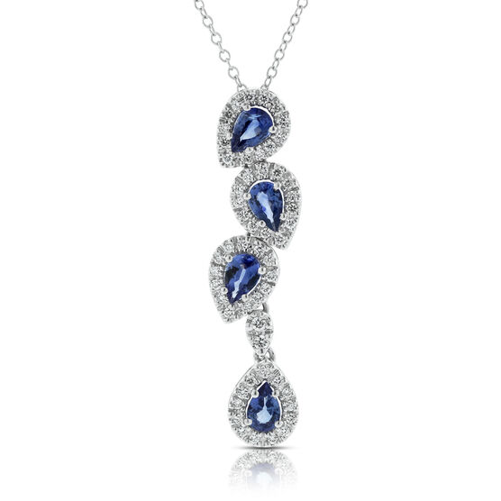 Pear Sapphire & Diamond Cascade Pendant 14K
