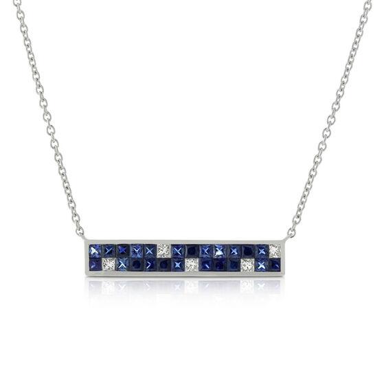 Sapphire & Diamond Mosaic Bar Necklace 14K