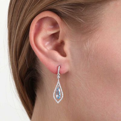 Pear Shaped Blue Topaz & Diamond Earrings 14K
