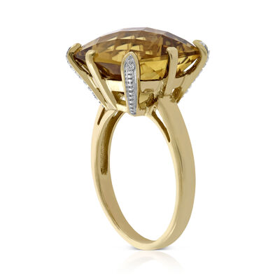 Checkerboard Citrine & Diamond Ring 14K