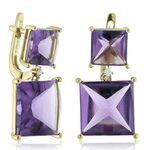Double Square Amethyst & Diamond Earrings 14K