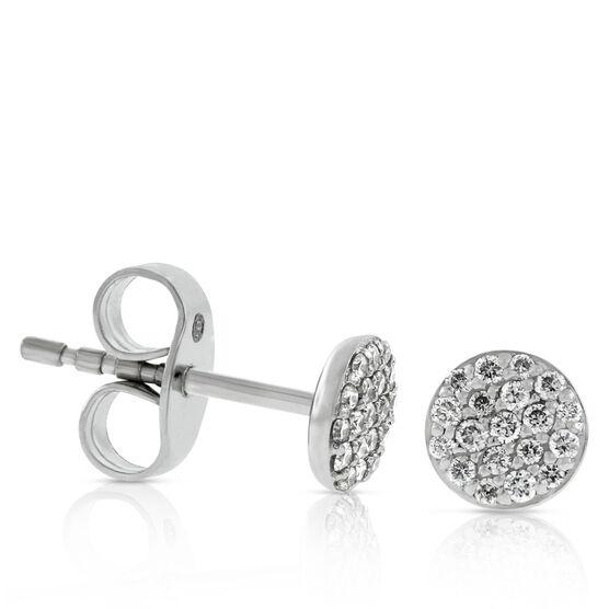 Pavé Diamond Circle Diamond Stud Earrings 14K