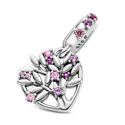 Pandora Pink Heart Family Tree Synthetic Ruby & CZ Dangle Charm