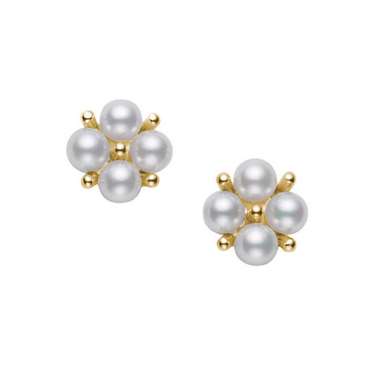 Mikimoto Akoya Cultured Pearl Cluster Earrings 18K