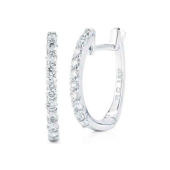 Roberto Coin Perfect Diamond Huggie Hoop Earrings 18K