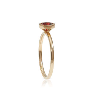 Bezel Set Round Garnet Ring 14K
