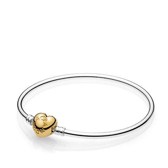 PANDORA Moments Silver Bangle Bracelet, PANDORA Shine™ Logo Heart Clasp