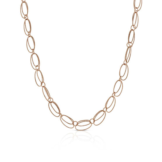 """Rose Gold Toscano Double Oval Link Necklace 14K, 24"""""""
