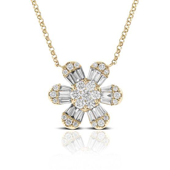 Six Petal Diamond Flower Necklace 14K