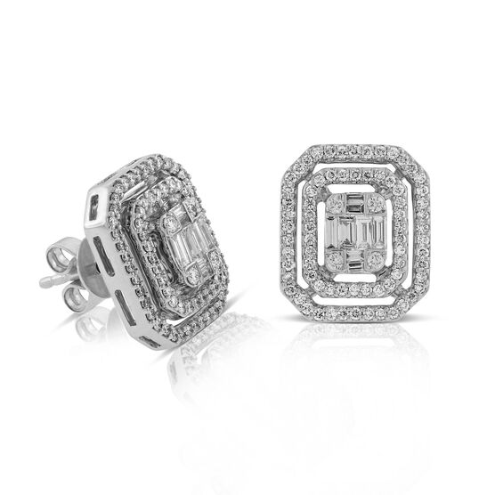 Baguette & Round Diamond Earrings 14K