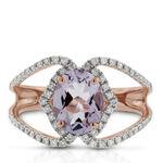 Rose Gold Oval Amethyst & Diamond Crossover Ring 14K