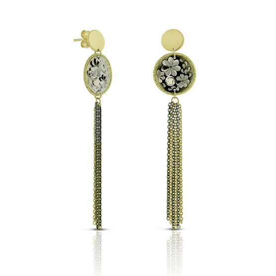 Toscano Floral Disc Earrings with Tassels 14K