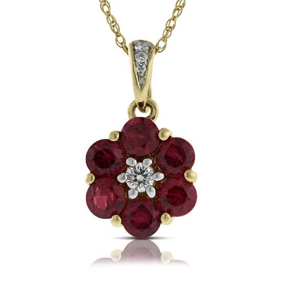Ruby & Diamond Flower Pendant 14K