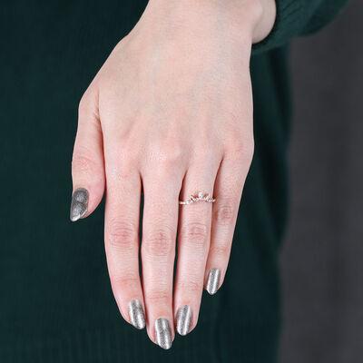 Rose Gold Diamond Petal Contour Ring 14K