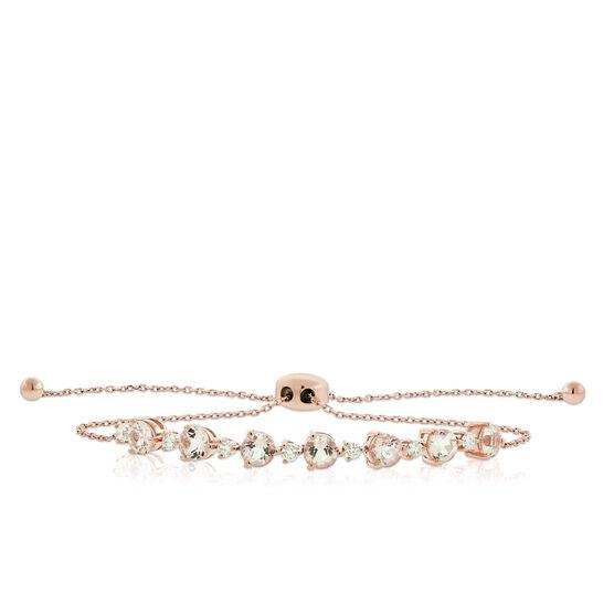 Rose Gold Morganite & Diamond Bolo Bracelet 14K