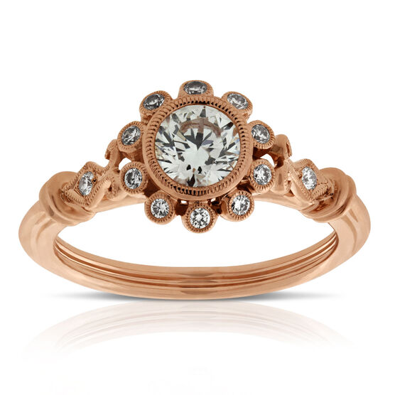 Rose Gold Bezel Set Diamond Engagement Ring 14K