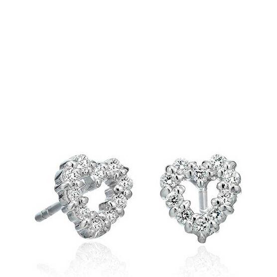 Roberto Coin Tiny Treasures Diamond Heart Stud Earrings 18K