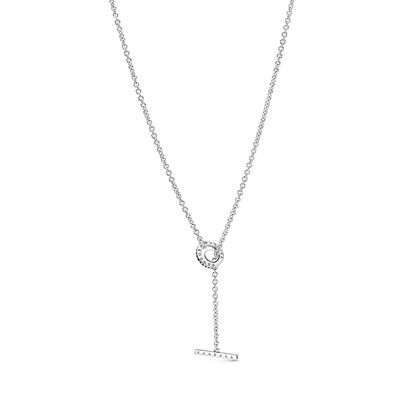 Pandora Pavé Circle Logo T-bar Heart CZ Necklace