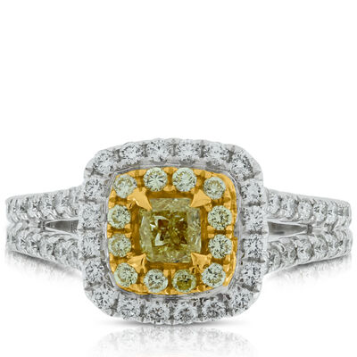 Yellow Diamond Ring in 18K, 7/8 ctw.