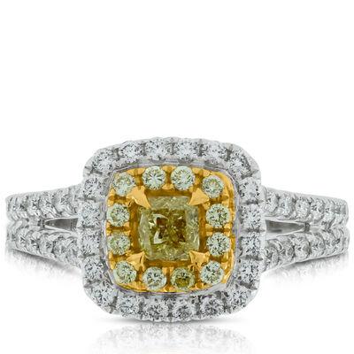 Yellow Diamond Ring in 18K, 7/8 ctw.