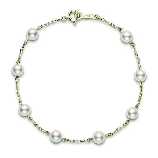 Mikimoto Akoya Cultured Pearl Station Bracelet 5mm, A+, 18K