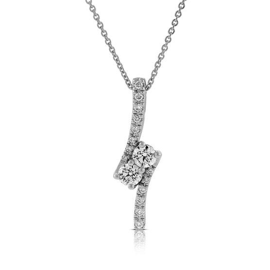 Perfectly Paired 2-Stone Diamond Pendant 14K, 5/8 ctw