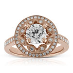 Rose Gold Diamond Halo Flower Ring 14K