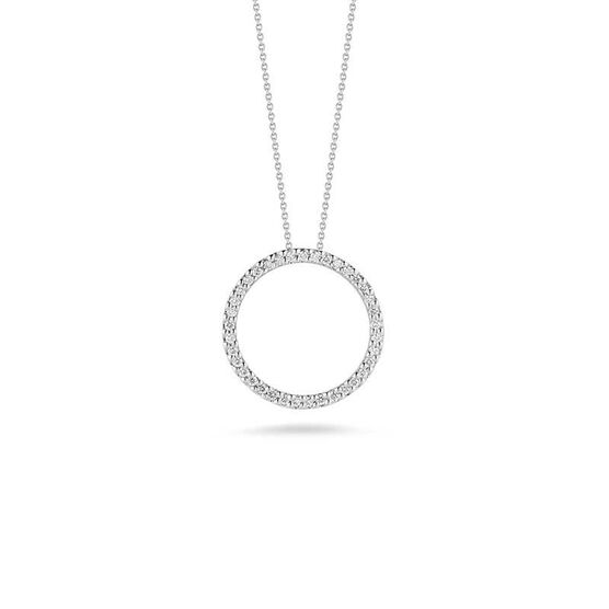 Roberto Coin Tiny Treasures Diamond Circle Necklace 18K