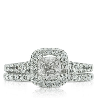 Cushion Cut Diamond Wedding Set 14K