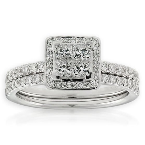 Princess Diamond Cluster Bridal Set 14K