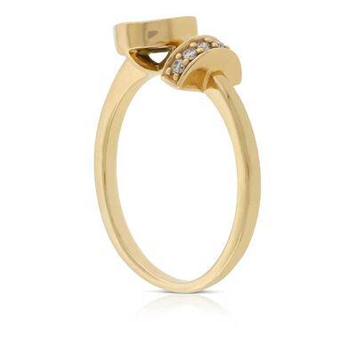 Opal Doublet & Diamond Open Shank Ring 14K