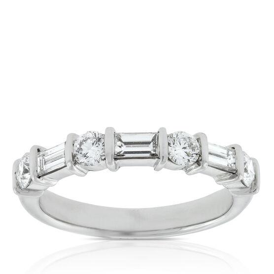 Baguette & Round Diamond Ring in Platinum, 1 ctw.