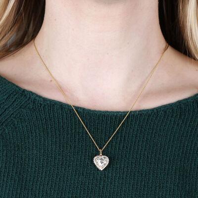 Heart Shaped Halo Diamond Pendant 14K