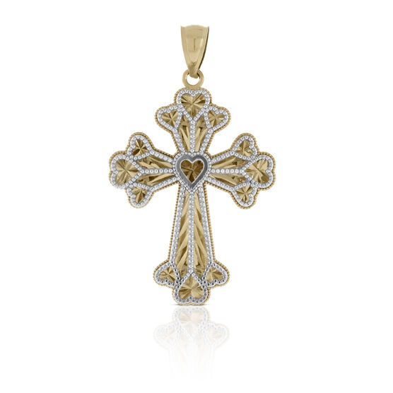 Heart Cross Charm / Pendant 14K