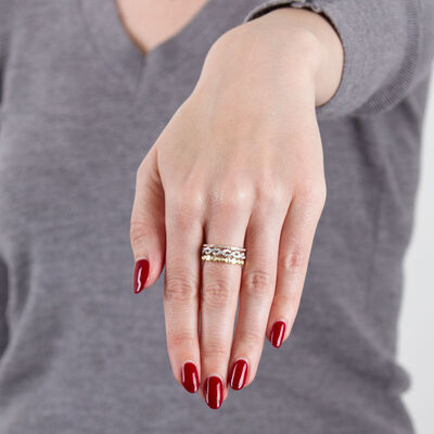 Tri-Color Three Row Diamond Band Ring 14K