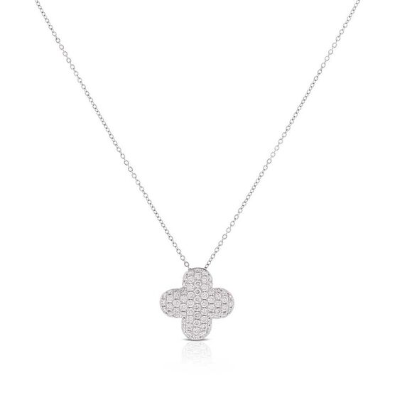 Diamond Pavé Clover Necklace 14K