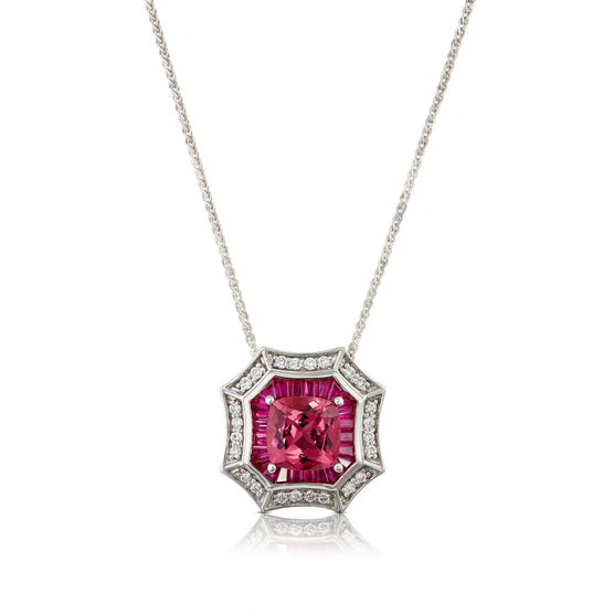 Square Pink Tourmaline, Baguette Ruby & Diamond Halo Necklace 14K