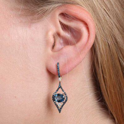 Blue Topaz, Blue & White Diamond Earrings 14K